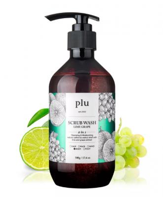 Скраб-гель для душа лайм и зеленый виноград PLU Scrub wash lime grape 500г: фото